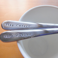 His And Her Coffee,Hand Stamped Spoon  Teaspoon,matching set,couple gift,wedding