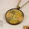 Large round resin women's pendant necklace Rene Beauclair tree vintage art print
