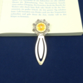 Solar Plexus Chakra Bookmark ~ Glass Tile ~ Antique Silver