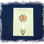 Root Chakra Bookmark ~ Glass Tile ~ Antique Silver