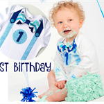1st Birthday Outfit Baby Boy Onesie Blue Chevron Bow Tie Onesie all sizes