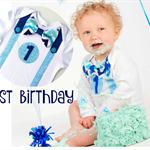 1st Birthday Outfit Baby Boy Onesie Blue Chevron Bow Tie Onesie all sizes