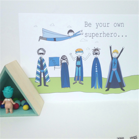 "Be Your Own Superhero Boys A4/8 x 10"" Illustration Print."