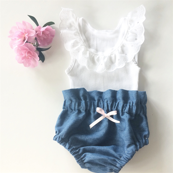 6fc9b110397e High Waisted Denim Bloomers and White lace tank - baby, girl, summer |  Bubby Makes Three | madeit.com.au
