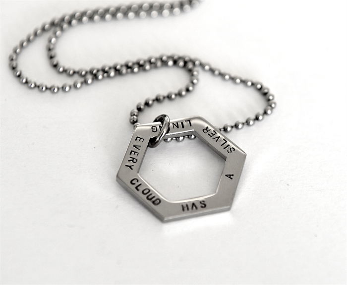 Geometric Necklace Every Cloud Has A Silver Lining Quote Quote