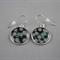 Women's large round resin silver drop dangle earrings black floral art print