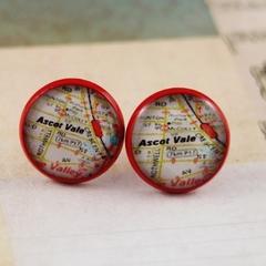 Women's round resin red stud earrings, Melways map street directory print studs