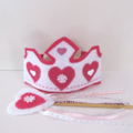 Dress up Princess Crown and Wand, girls birthday hat, Pink Wand