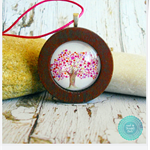 Pink & Purple Tree of Life Watercolour Wood Circle Necklace
