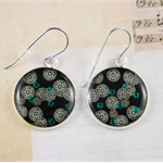 Women's large round resin silver drop dangle earrings black floral art print
