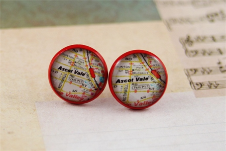 Women's round resin red stud earrings, Melways map street directory print studs