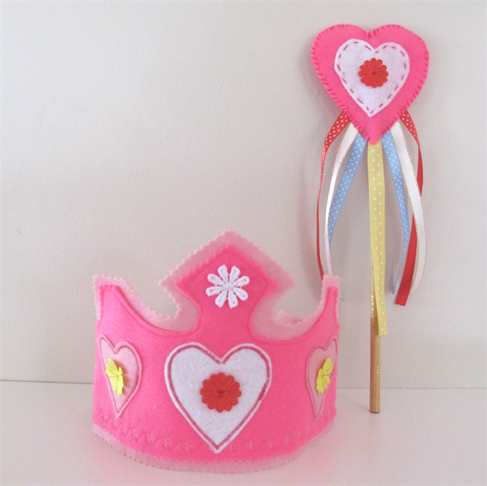 Dress Up Princess Crown And Wand Girls Birthday Hat Rainbow