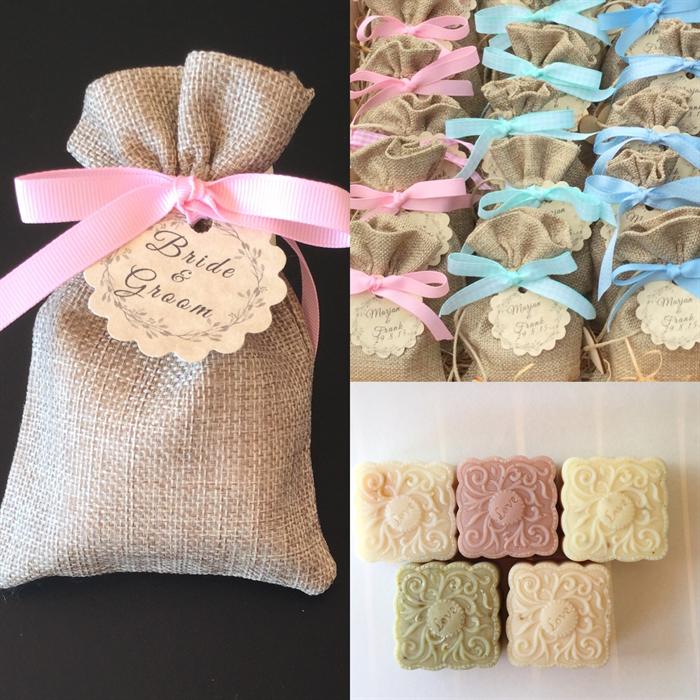 50 Soap Burlap Bag Wedding Favors Baby Shower Soap Favors Free