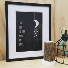 I love you to the moon and back A4 Unframed illustration Art Print Bedroom Decor