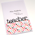 personalised teacher thank you card - hearts