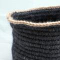 Handmade Round Woolen Crochet Basket in Grey/Beige