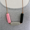 TRIO Black + Pink + Stone Polymer Clay on Tan Leather