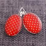 Red & White Rockabilly Polka Dot Oval Lever Back Earrings