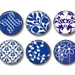 Fridge magnets -  Blue Chinaset of 6