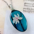 Upcycled/recycled vintage spoon resin pendant necklace, orchid lily blue print