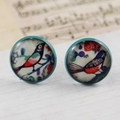Women's round resin blue stud earrings, Alexander Henry bird floral print studs