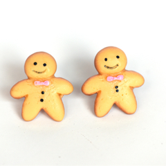 Gingerbread studs - Gingerbread Man / Men Stud Earrings - Kawaii Kitsch