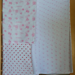 Muslin wrap / swaddle / receiving blanket, pack of three. Baby girl.