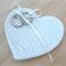 Hand engraved white lace porcelain heart, wedding ring dish, Ceramic.