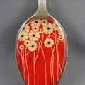 Upcycled/recycled vintage spoon resin pendant necklace, red poppy floral print