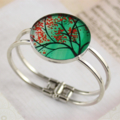 Women's round resin silver cuff bracelet bangle, cherry blossom tree art print