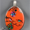 Upcycled/recycled vintage spoon resin pendant necklace, bird orange tree print