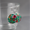 Women's large round resin silver drop dangle earrings red green floral art print