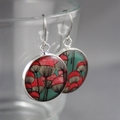 Women's large round resin silver drop dangle earrings pink poppy floral print