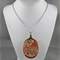 Upcycled/recycled vintage spoon resin pendant necklace, orange floral art print