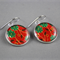 Women's large round resin silver drop dangle earrings green red floral art print