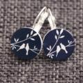 Snow Birds on Navy~ Lever Back Earrings