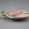Upcycled/recycled vintage spoon resin pendant necklace, pink pastel floral print