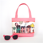 Mini Tote Bag for Little Girls - Pink Houses