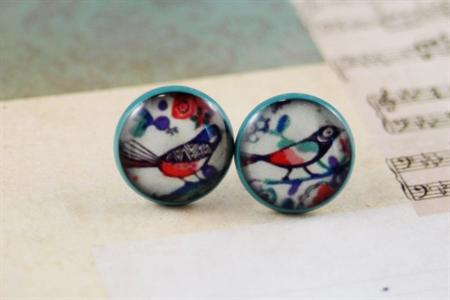 Women's round resin blue stud earrings, Alexander Henry bird floral print studs
