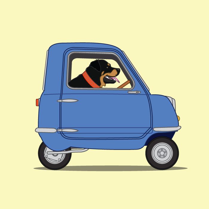Peel P50 For Sale >> Rottweiler driving his Peel P50 - Dogs Driving Things Collection | Draw My Ride on Madeit