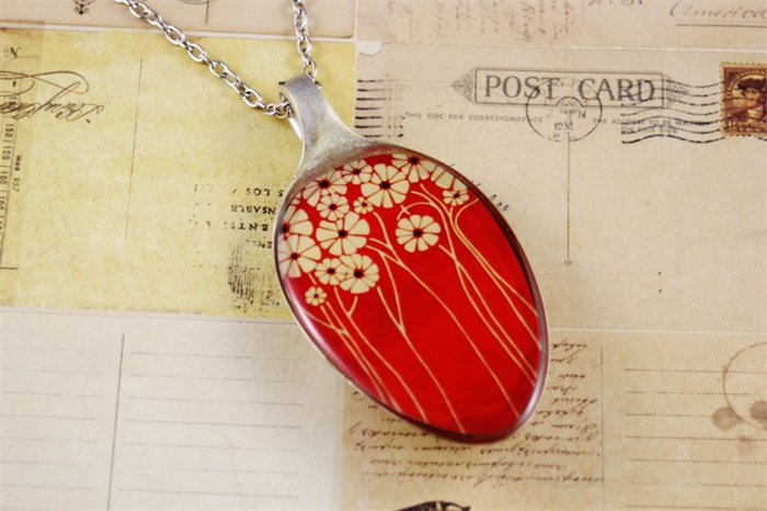 Upcycledrecycled Vintage Spoon Resin Pendant Necklace Red Poppy