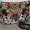 Ladies Clutch - Large Pleated Forest Lily Print with Gold Metal Motif