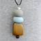 DROPS Pale Blue + Stone Polymer Clay with Wood + Lava Pendant on Black Leather