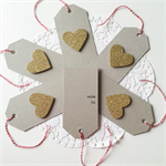 SET OF 6 gold glitter hearts kraft tags twine gift present love friend