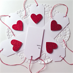 Gorgeous set of 6 white tags red glitter heart twine gift present love friend
