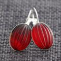 Garnet Glass ~Oval Lever Back Earrings