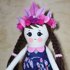 Flower crown cloth doll