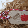 24 Mini Merry Christmas Apple Gift Tags for End of Year Celebrations
