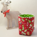 Reversible Fabric Bucket - Christmas 'Home for the Holidays' Red (10cm sq base)