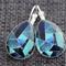 Geo Blues ~ Teardrop Lever Back Earrings